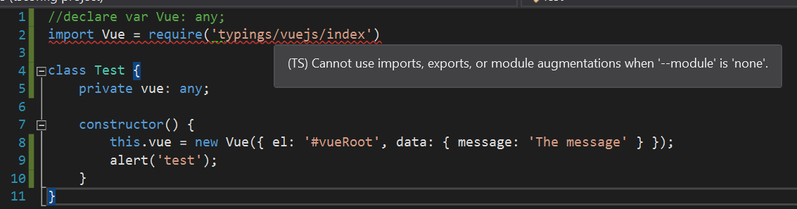 Vue js type definitions and Typescript in Visual Studio
