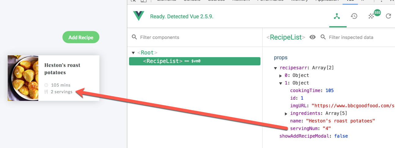 VueJS: Component does not react to property change - Get