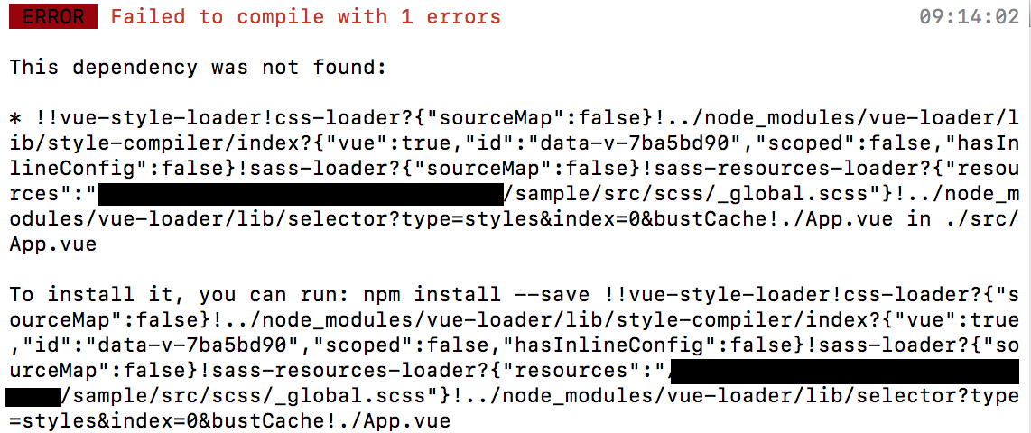Vue-style-loader 'module not found' when using global
