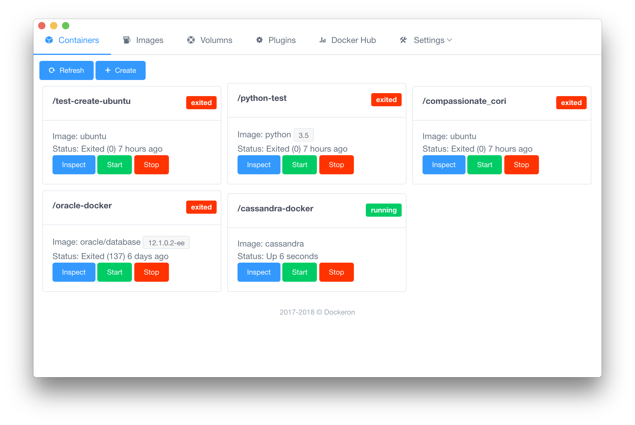 Dockeron: a project built on Electron + Vue js for Docker on