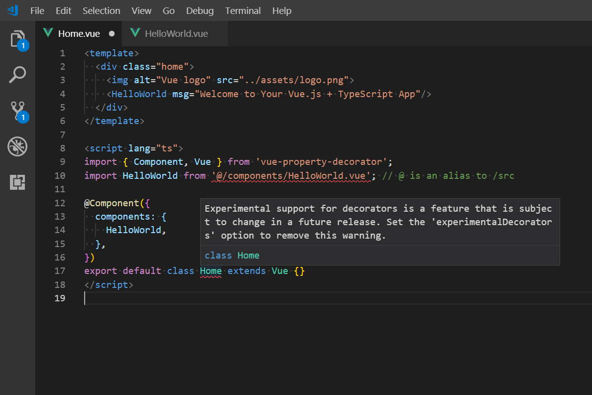 New typescript build out of the box compiles vscode throws 'cannot