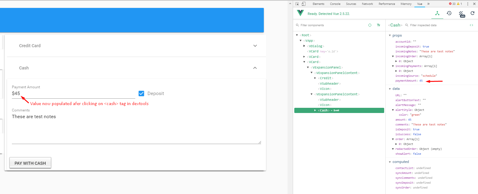 Vue devTools triggers component when clicking on the <tag> - Get
