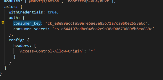 How to send consumer_key and consumer_secret in headers axios