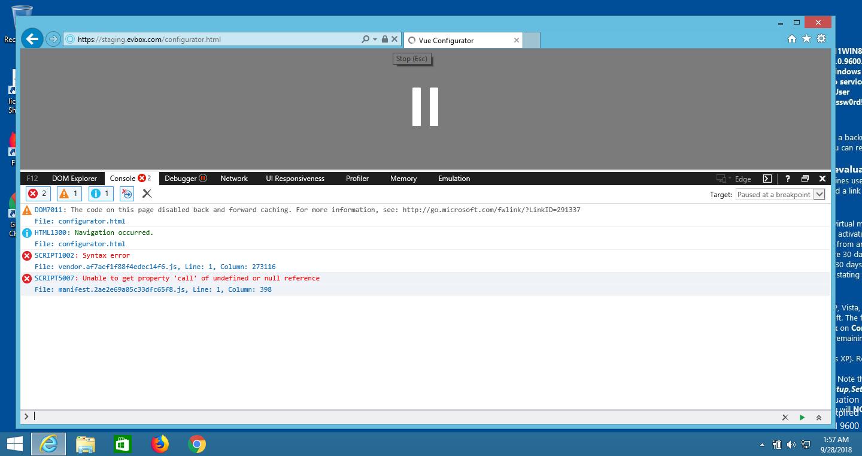 IE11, Vue-Cli, Webpack + Babel - SCRIPT1003 and SCRIPT5007 Error