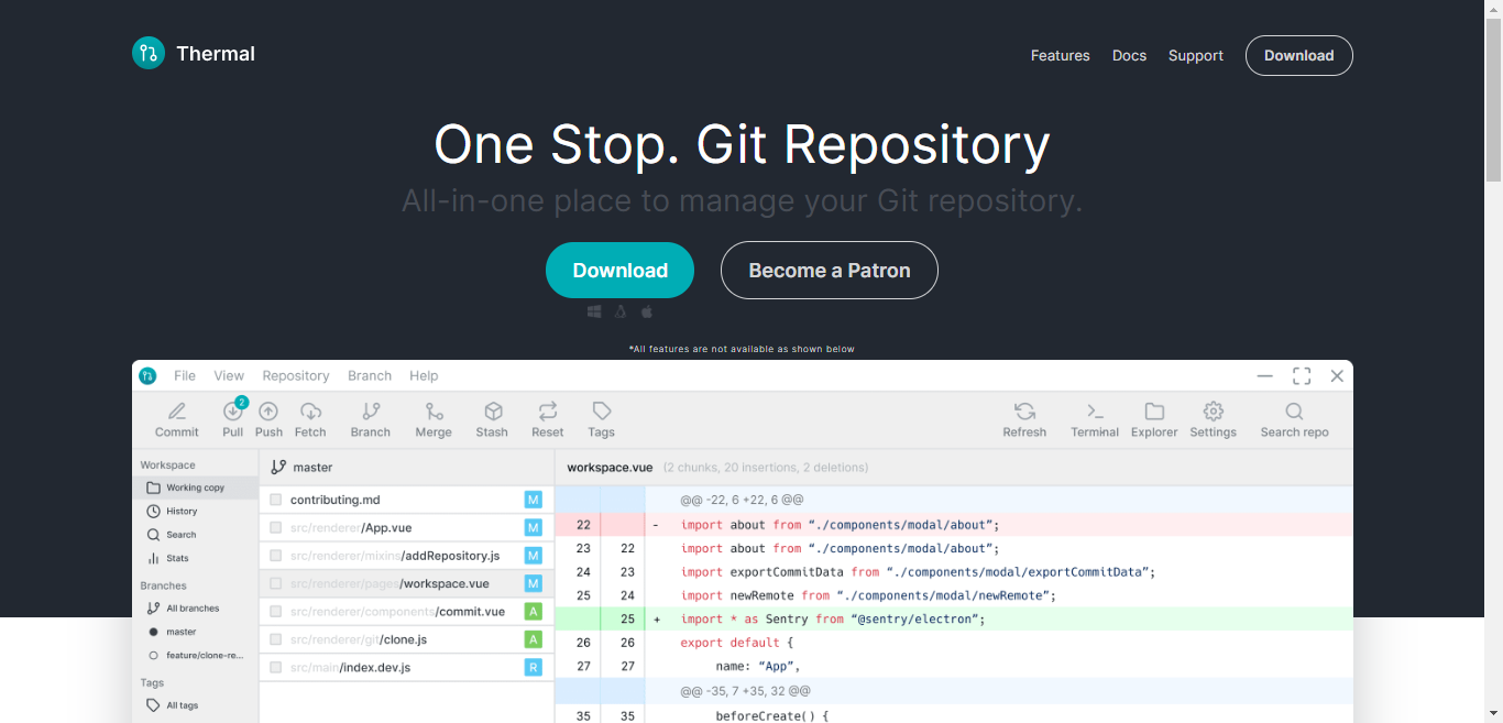 Contributor for open source Git GUI Electron js & Vue js project